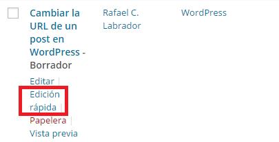 Cambiar la URL de un post en WordPress