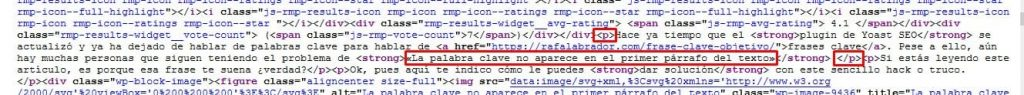 Código fuente primer párrafo