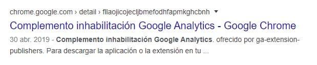 SERP para el complemento de inhabilitación de Google Analytics