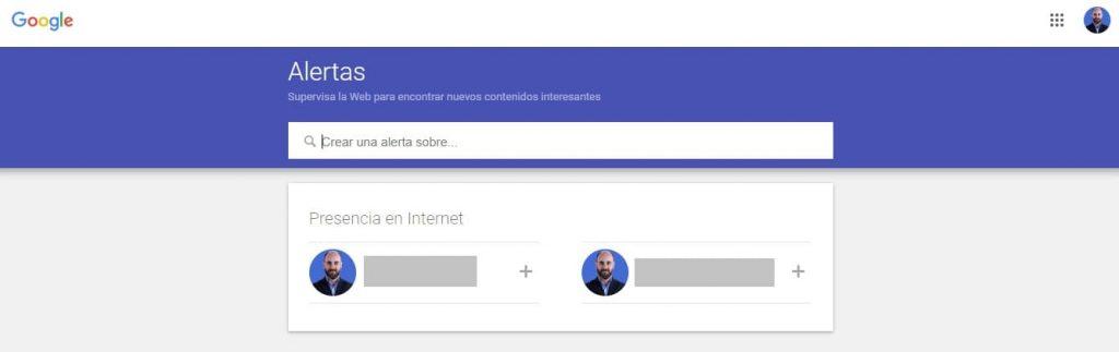 Google Alerts con sesión iniciada