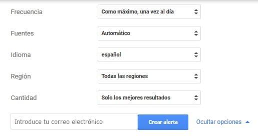 opciones de Google Alerts