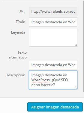 Imagen destacada en WordPress. ¿Qué SEO debo hacerle?