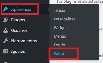 Opción de WordPress: Apariencia, Editor