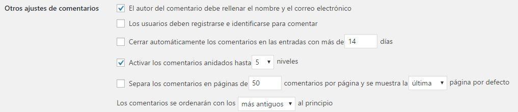 Configuraciones WordPress