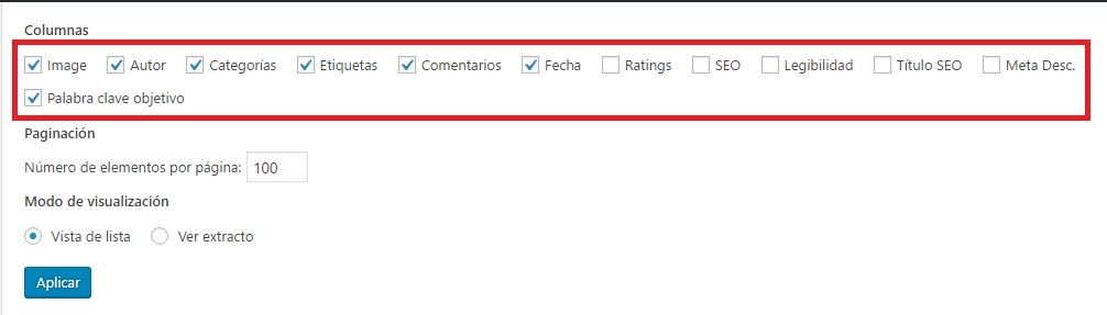 Configurando columnas en WordPress
