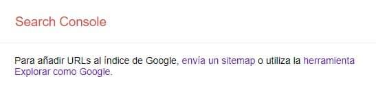 Añadir URLs al índice de Google