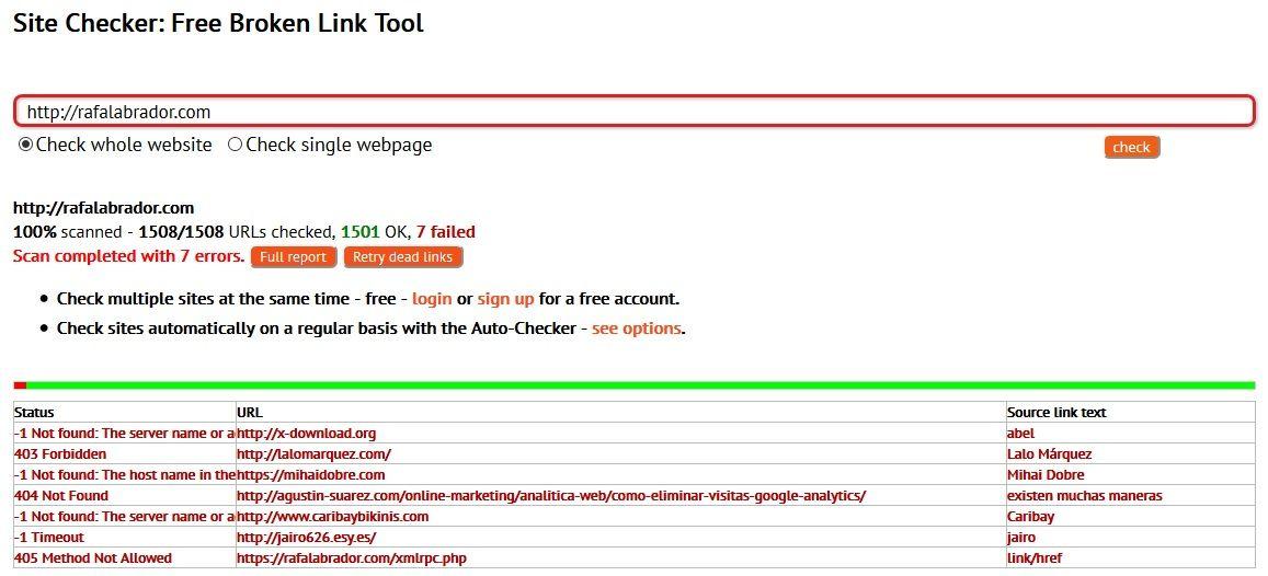 Dead Link Checker resultados