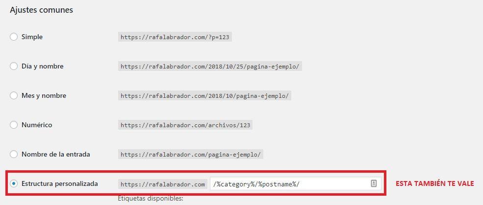 Estructura personalizada con categorías urls wordpress