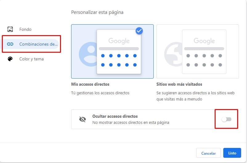 Opciones de personalización para ocultar accesos directos