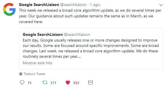 Tweet actualización algoritmo Google