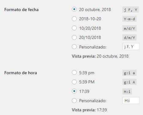 Formato de fecha y hora en WordPress