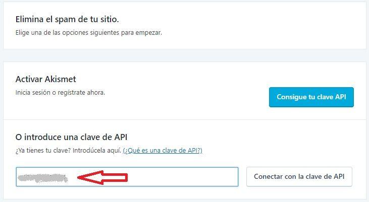 Clave API Akismet