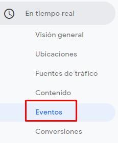 Eventos en Tiempo Real Google Analytics