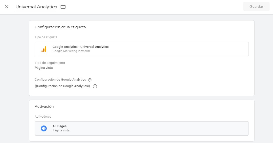 GTM Etiqueta para Google Analytics