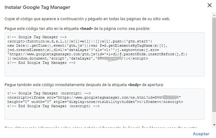 Scripts para instalar Google Tag Manager