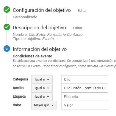 Objetivo Google Analytics