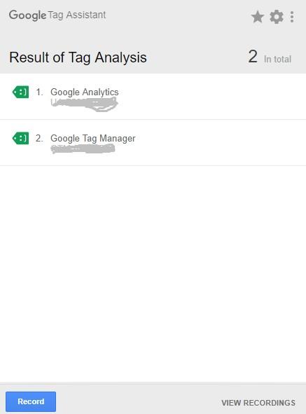 Resultados de Tag Assistant