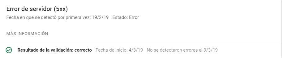 Error de servidor