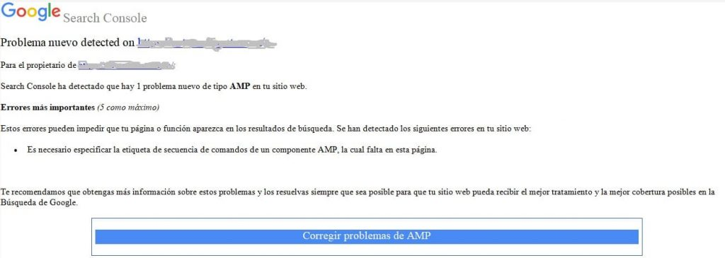 Email problemas AMP