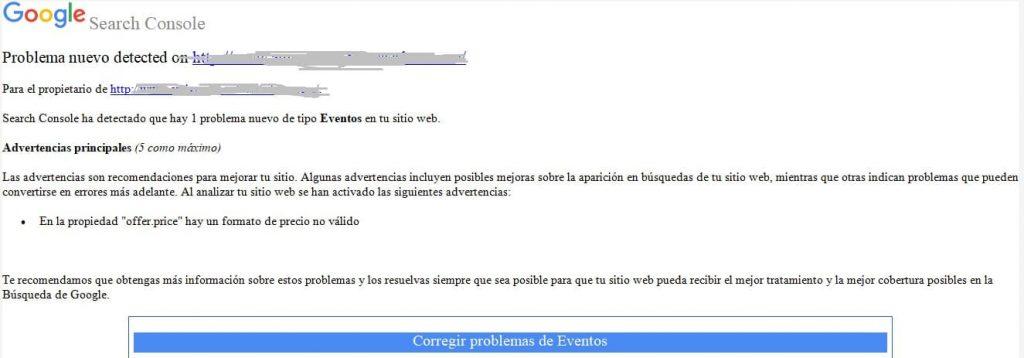 Email problema de eventos