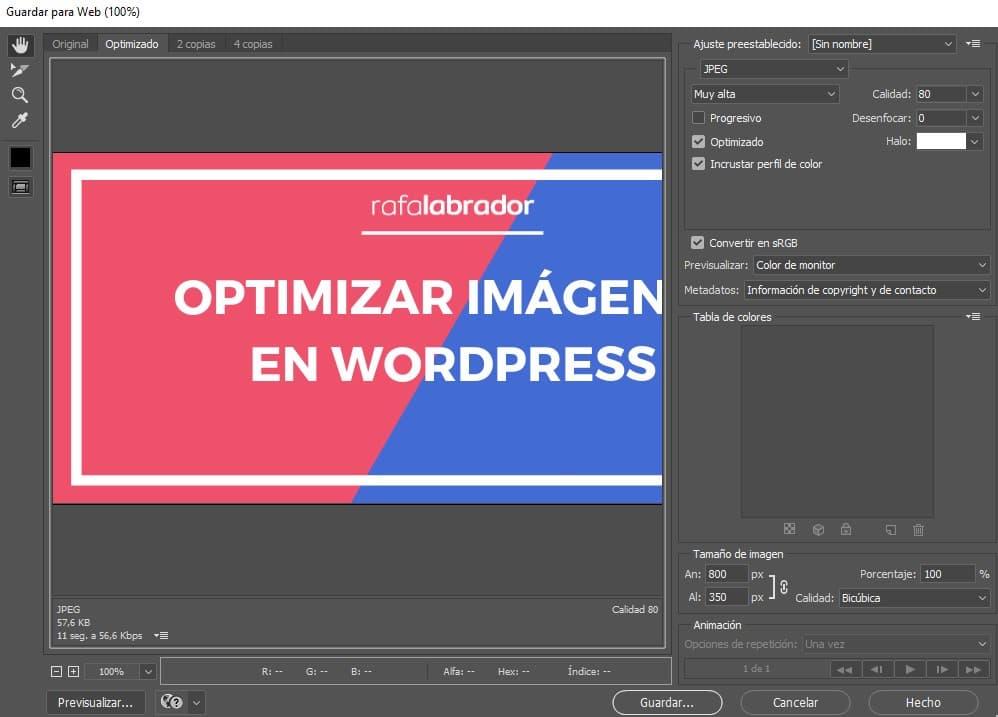 Guardar para web - Adobe Photoshop