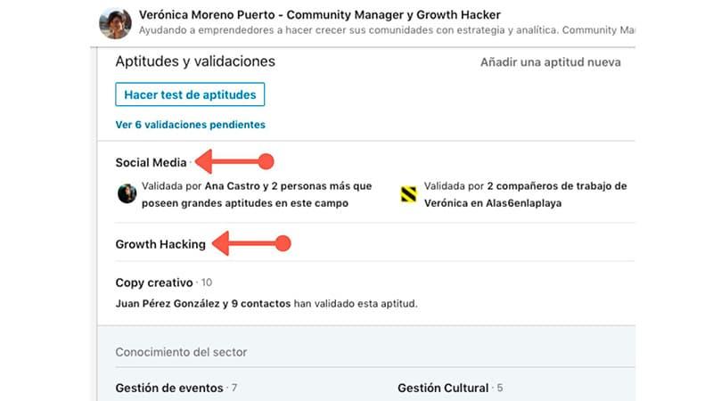 Palabras clave en Actitudes y Validaciones en LinkedIn