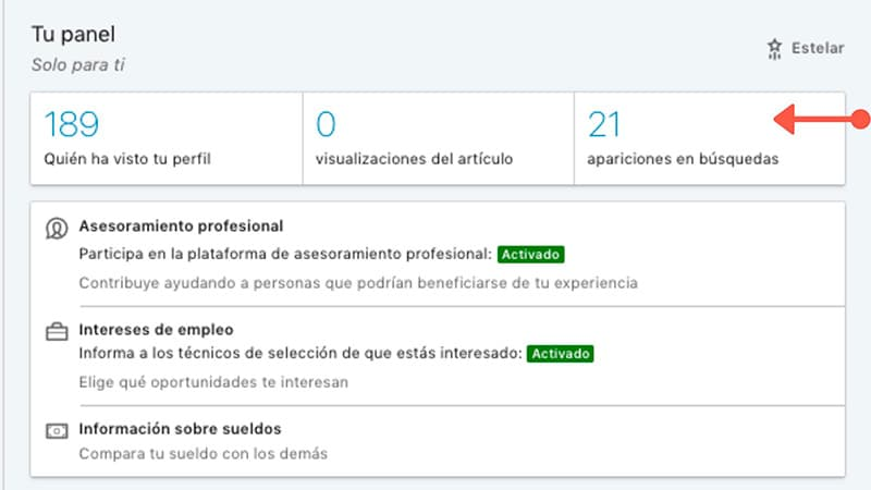Apariciones en búsquedas en LinkedIn