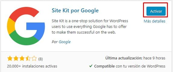 Activar plugin Site Kit by Google