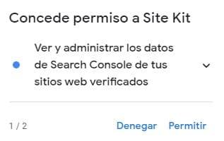 Permisos Site Kit